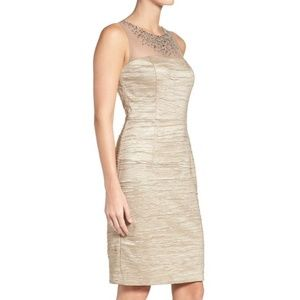 NWT Eliza J Taupe Jeweled Cocktail Dress